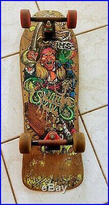 Vintage 1980s Sims Kevin Staab Pirate Longboard Skateboard W Bones Wheels